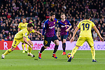 Lionel Messi of FC Barcelona (C) in action against Santiago Caseres of Villarreal (L) during the La Liga 2018-19 match between FC Barcelona and Villarreal at Camp Nou on 02 December 2018 in Barcelona, Spain. Photo by Vicens Gimenez / Power Sport Images