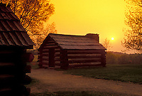 AJ4321, Valley Forge Park, encampment, soldiers' hut, Valley Forge National Historical Park, Pennsylvania, Soldiers' quarters at Valley Forge Nat'l Historical Park at sunset in the state of Pennsylvania.