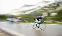 Marco Bandiera (ITA/Androni Giocattoli - Venezuela) speeding down the Passo San Pellegrino (1918m) in the rain<br /> <br /> 2014 Giro d'Italia<br /> stage 18: Belluno - Rifugio Panarotta (Valsugana), 171km