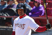 Wisconsin Timber Rattlers third baseman Sthervin Matos (9) waits on deck during a game against the Cedar Rapids Kernels on April 23rd, 2015 at Fox Cities Stadium in Appleton, Wisconsin.  Cedar Rapids defeated Wisconsin 3-0.  (Brad Krause/Four Seam Images)