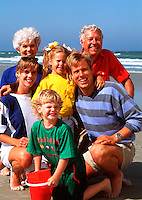 Multigenerational family on beach