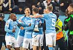 MFF-AIK, Allsvenskan 10282019. MFF players celebrate Anders Christiansen's 1-0 goal vs AIK.