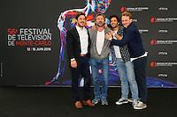 Aurelien WIIK - Bernard YERLES - Benoit MICHEL - Roby SCHINASI - PHOTOCALL 'LA VENGEANCE AUX YEUX CLAIRS' - 56E FESTIVAL DE TELEVISION DE MONTE-CARLO