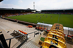 Port Vale 3 Doncaster Rovers 0, 22/08/2015. League One, Vale Park. Substitutes warm up in front of the partially completed KMF Stand at half time. Photo by Paul Thompson.