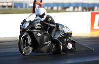 Sept. 2, 2011; Claremont, IN, USA: NHRA pro stock motorcycle rider Jerry Savoie during qualifying for the US Nationals at Lucas Oil Raceway. Mandatory Credit: Mark J. Rebilas-
