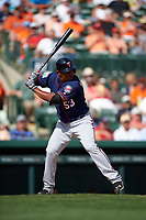 Minnesota Twins first baseman Reynaldo Rodriguez (53) at bat during a Spring Training game against the Baltimore Orioles on March 7, 2016 at Ed Smith Stadium in Sarasota, Florida.  Minnesota defeated Baltimore 3-0.  (Mike Janes/Four Seam Images)