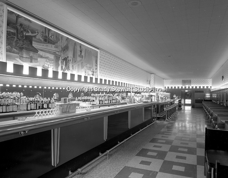 Pittsburgh PA:  The interior of the new Brass Rail Restaurant. The Brass Restaurants were a staple in Pittsburgh since the 1930s.  Brady Stewart Studio took photographs of the opening of every Brass Rail restaurant since 1930.