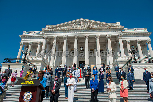 Congressional Black Caucus Chairwoman and United States Representative Karen Bass (Democrat of California) offers remarks while she is joined by other members of Congress on the House steps of the US Capitol, for a press conference ahead of the vote on the George Floyd Justice in Policing Act of 2020 in Washington, DC., Thursday, June 25, 2020. <br /> Credit: Rod Lamkey / CNP/AdMedia