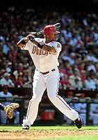 Apr. 5, 2010; Phoenix, AZ, USA; Arizona Diamondbacks outfielder Justin Upton against the San Diego Padres during opening day at Chase Field. Mandatory Credit: Mark J. Rebilas-