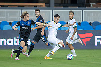 SAN JOSE, CA - SEPTEMBER 16: Felipe Mora #9 of the Portland Timbers & Florian Jungwirth #23 of the San Jose Earthquakes battle for the ball during a game between Portland Timbers and San Jose Earthquakes at Earthquakes Stadium on September 16, 2020 in San Jose, California.