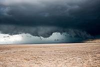Blue Thunderstorm Shelf Cloud Above a Yellow Grassy Field in Eastern Colorado, June 11, 2010