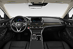 Stock photo of straight dashboard view of 2021 Honda Accord-Hybrid EX-L 4 Door Sedan Dashboard