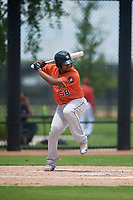 GCL Astros Nerio Rodriguez (58) at bat during a Gulf Coast League game against the GCL Nationals on August 9, 2019 at FITTEAM Ballpark of the Palm Beaches training complex in Palm Beach, Florida.  GCL Nationals defeated the GCL Astros 8-2.  (Mike Janes/Four Seam Images)