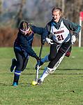 LITCHFIELD, CT-111820JS08—Shepaug's Brooke Mercier  (3) runs the ball past Wamogo's Abby Wayland-Smith (21) during their field hockey game Wednesday at Wamogo High School. <br />  Jim Shannon Republican-American
