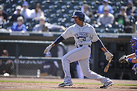 New Orleans Zephyrs pitcher Jose Urena (34) swings during the game against the Iowa Cubs  at Principal Park on April 13, 2016 in Des Moines, Iowa.  The Cubs won 9-5 .  (Dennis Hubbard/Four Seam Images)