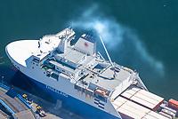 Thuleland, Ro Ro Schiff, Cargo, Container, Handelsschifffahrt, Abgas, Auspuff, Verschmutzung, Travemünde. Skandinavienkai, Trave, Terminal