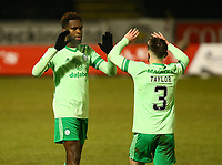 10th February 2021; St Mirren Park, Paisley, Renfrewshire, Scotland; Scottish Premiership Football, St Mirren versus Celtic; Odsonne Edouard of Celtic celebrates with Greg Taylor of Celtic after he makes it 2-0 in the 79th minute from the penalty spot