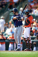 Minnesota Twins third baseman Trevor Plouffe (24) at bat during a Spring Training game against the Baltimore Orioles on March 7, 2016 at Ed Smith Stadium in Sarasota, Florida.  Minnesota defeated Baltimore 3-0.  (Mike Janes/Four Seam Images)