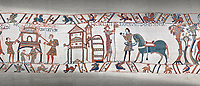 Bayeux Tapestry scene 47:  A house is burnt to clear the way for Williams Army and Duke William gets ready from battle.