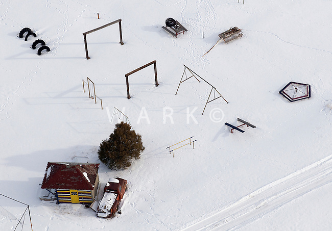 Sugar City playground in winter snow