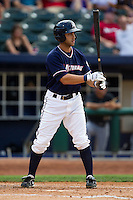 Anthony Seratelli (2) of the Northwest Arkansas Naturals at bat during a game against the San Antonio Missions at Arvest Ballpark on June 30, 2011 in Springdale, Arkansas. (David Welker / Four Seam Images)