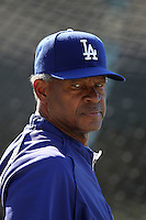 Los Angeles Dodgers coach Manny Mota #11 before a game against the Houston Astros at Dodger Stadium on June 18, 2011 in Los Angeles,California. (Larry Goren/Four Seam Images)