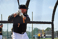 Pittsburgh Pirates Garth Brooks (7) in the batting cage during the teams first Spring Training practice on February 18, 2019 at Pirate City in Bradenton, Florida.  (Mike Janes/Four Seam Images)