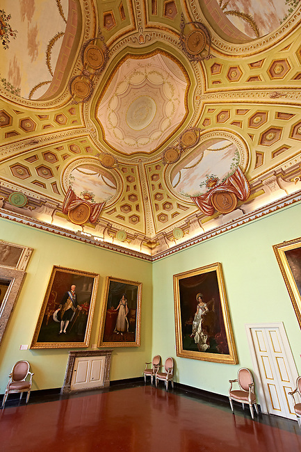 Room of The Bourbons of Naples, Spain and France. This room contains portraits of the Bourbon Dynasty. The Kings of Naples Royal Palace of Caserta, Italy. A UNESCO World Heritage Site