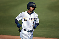 Abiezel Ramirez (2) of the Charleston RiverDogs hustles down the first base line against the Augusta GreenJackets at Joseph P. Riley, Jr. Park on June 27, 2021 in Charleston, South Carolina. (Brian Westerholt/Four Seam Images)