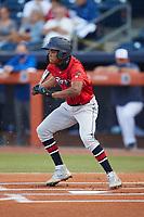 Jose Devers (27) of the Jacksonville Jumbo Shrimp at bat against the Durham Bulls at Durham Bulls Athletic Park on May 15, 2021 in Durham, North Carolina. (Brian Westerholt/Four Seam Images)