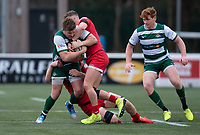 Harry Sloan of Ealing Trailfinders is tackled by George Spencer of Jersey Reds during the Championship Cup Quarter final match between Ealing Trailfinders and Jersey Reds at Castle Bar , West Ealing , England  on 22 February 2020. Photo by Alan  Stanford / PRiME Media Images.