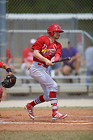 St. Louis Cardinals Tyler Lancaster (50) bats during a minor league Spring Training game against the Washington Nationals on March 27, 2017 at the Roger Dean Stadium Complex in Jupiter, Florida.  (Mike Janes/Four Seam Images)