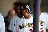 Brevard County Manatees center fielder Corey Ray (2) in the dugout during a game against the Daytona Tortugas on August 14, 2016 at Space Coast Stadium in Viera, Florida.  Daytona defeated Brevard County 9-3.  (Mike Janes/Four Seam Images)