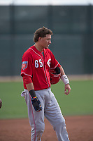 Cincinnati Reds catcher Valentin Martinez (65) during a Minor League Spring Training game against the Los Angeles Angels at the Cincinnati Reds Training Complex on March 15, 2018 in Goodyear, Arizona. (Zachary Lucy/Four Seam Images)