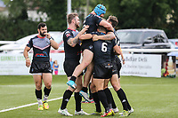 Ben Hellewell of London Broncos (3) celebrates after he scores his 3rd (hat trick) try of the game during the Kingstone Press Championship match between London Broncos and Sheffield Eagles at Castle Bar , West Ealing , England  on 9 July 2017. Photo by David Horn.