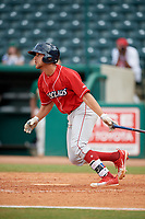 Lakewood BlueClaws left fielder Jake Scheiner (14) hits a single during a game against the Greensboro Grasshoppers on June 10, 2018 at First National Bank Field in Greensboro, North Carolina.  Lakewood defeated Greensboro 2-0.  (Mike Janes/Four Seam Images)