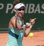 May 25,2016:  Samantha Stosur (AUS) defeated Shuai Zhang (CHN) 6-3 in the first set at Roland Garros being played at Stade Roland Garros in Paris, .  ©Leslie Billman/Tennisclix