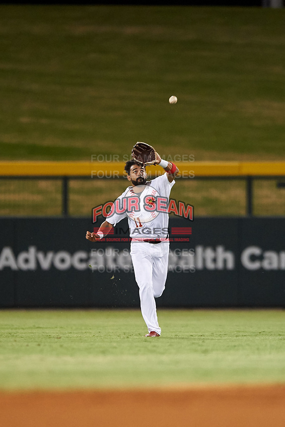 Mesa Solar Sox center fielder Derek Hill (11), of the Detroit Tigers organization, prepares to catch a fly ball during an Arizona Fall League game against the Scottsdale Scorpions on September 18, 2019 at Sloan Park in Mesa, Arizona. Scottsdale defeated Mesa 5-4. (Zachary Lucy/Four Seam Images)