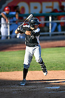 Jose Gomez (3) of the Grand Junction Rockies at bat against the Orem Owlz in Pioneer League action at Home of the Owlz on July 6, 2016 in Orem, Utah. The Owlz defeated the Rockies 9-1 in Game 1 of the double header.  (Stephen Smith/Four Seam Images)