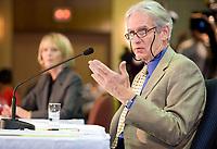 Saguenay, September 19, 2007 ? GÈrard Bouchard speaks at the Bouchard Taylor commission in Saguenay September 19, 2007.<br /> <br /> PHOTO :  Francis Vachon - Agence Quebec Presse