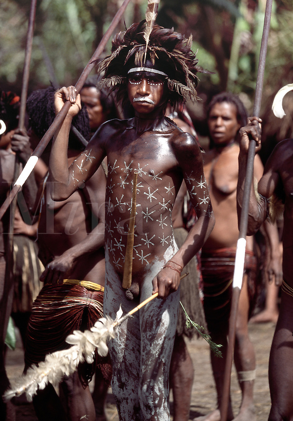 Dani Tribesmen Baliem Valley Irian Jaya Indonesia.