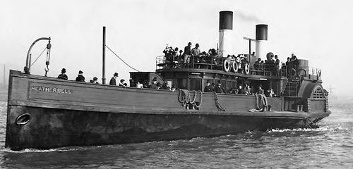 The Erin's King, which features in James Joyce's in Ulysses. She is shown here in her original manifestation as a Mersey Ferry, Heather Bell. When launched in 1865 she cost £7,500 to construct. She was sold in 1891 for £950 and renamed Erin's King