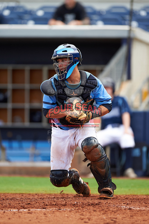 Charlotte Stone Crabs catcher Maxx Tissenbaum (8) during a game against the Dunedin Blue Jays on July 26, 2015 at Charlotte Sports Park in Port Charlotte, Florida.  Charlotte defeated Dunedin 2-1 in ten innings.  (Mike Janes/Four Seam Images)