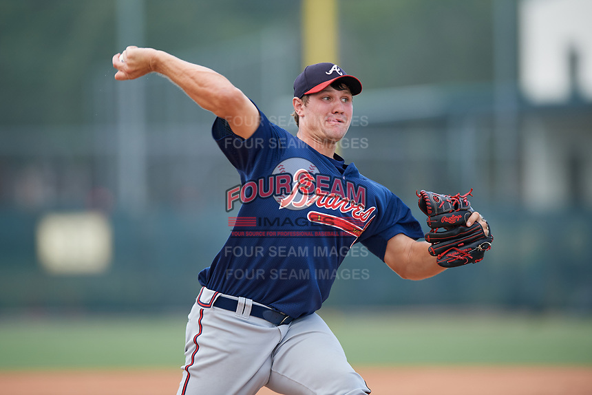 GCL Braves relief pitcher Zach Becherer (26) delivers a pitch during a game against the GCL Pirates on July 26, 2017 at Pirate City in Bradenton, Florida.  GCL Braves defeated the GCL Pirates 12-5.  (Mike Janes/Four Seam Images)