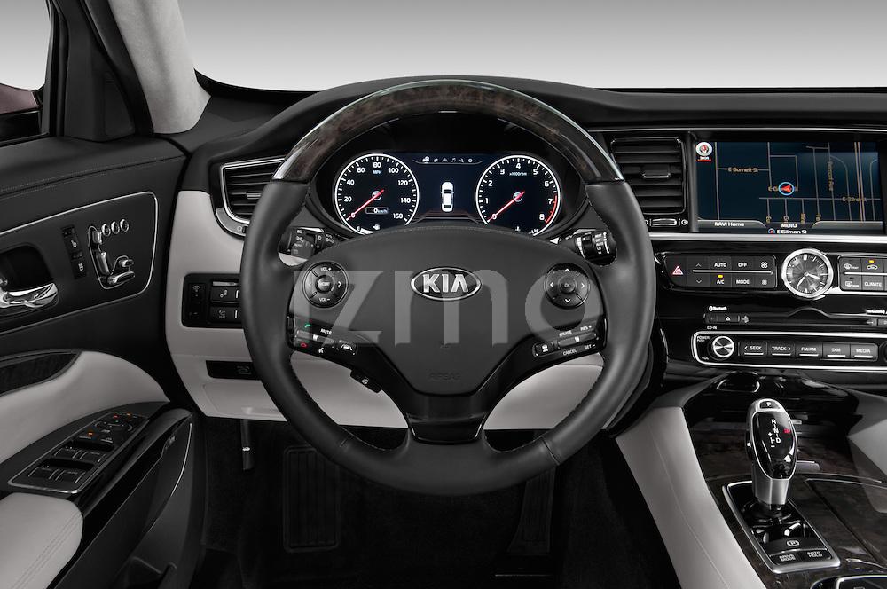 Steering wheel view of a 2015 KIA K900 Base 4 Door Sedan