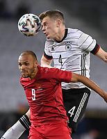 2nd June 2021, Tivoli Stadion, Innsbruck, Austria; International football friendly, Germany versus Denmark; Martin Braithwaite left, Denmark against Matthias Ginter right, Germany