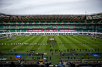 13th February 2021; Twickenham, London, England; International Rugby, Six Nations, England versus Italy; An empty Twickenham  due to the pandemic as the anthems are played