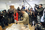 Leader of Spain's Socialist Party (PSOE) and candidate for general elections Pedro Sanchez casts his vote with his wife Begona Gomez during General Elections at a polling station. December 20,2015. (ALTERPHOTOS/Acero)