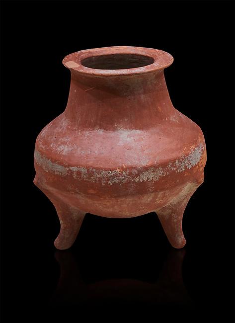 Hittite terra cotta pot on trident legs. Hittite Old Period, 1650 - 1450 BC.  Hattusa Boğazkale. Çorum Archaeological Museum, Corum, Turkey. Against a black bacground.