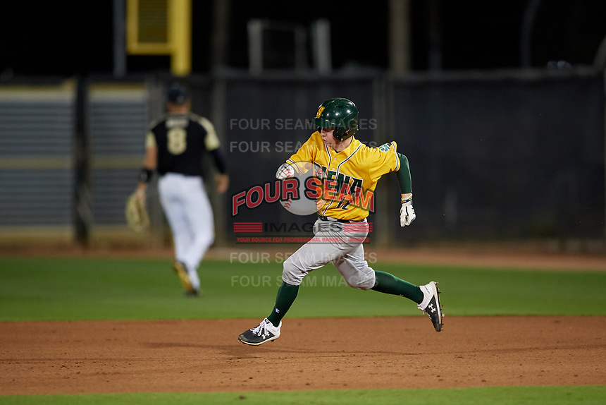 Siena Saints Devan Kruzinski (12) running the bases during a game against the UCF Knights on February 14, 2020 at John Euliano Park in Orlando, Florida.  UCF defeated Siena 2-1.  (Mike Janes/Four Seam Images)